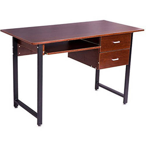 Merax Office Computer Desk Workstation with Drawers and Keyboard Tray, Natural