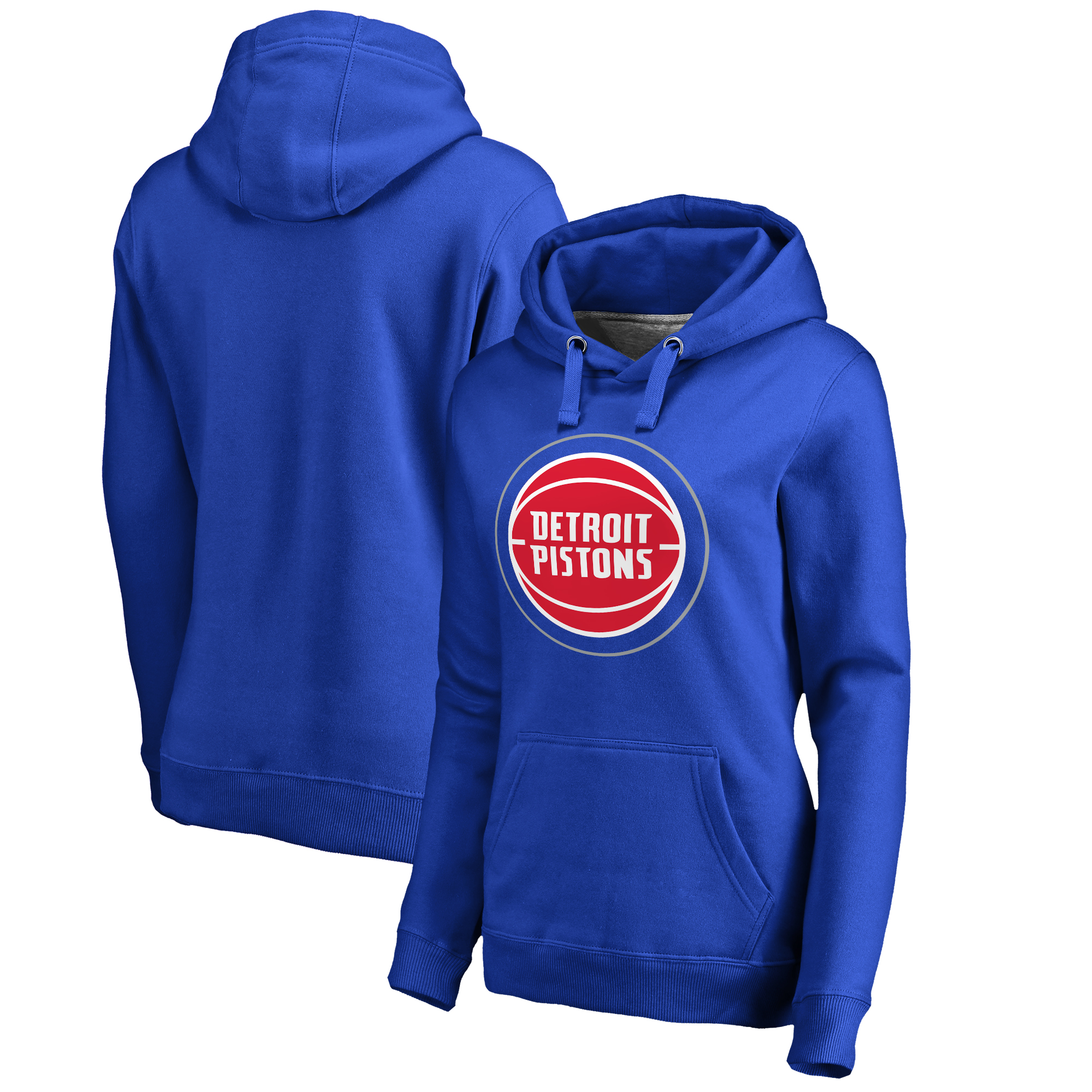 Detroit Pistons Fanatics Branded Women's Plus Sizes Team Primary Logo Pullover Hoodie - Royal