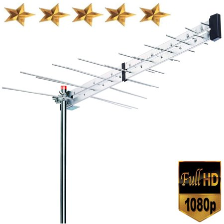 Rod Style Roof Antenna - Premium BoostWaves Yagi Roof Top TV Antenna Optimized HDTV Digital Outdoor Directional Aerial VHF UHF FM - Solid Metal Construction 2 Year Warranty