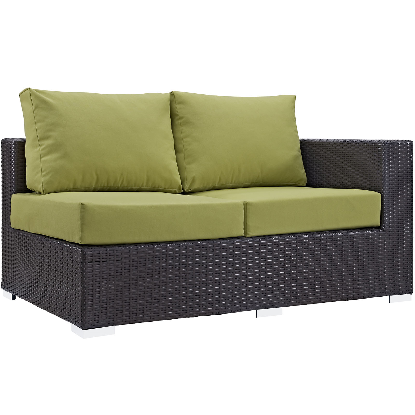 Modern Contemporary Urban Design Outdoor Patio Balcony Right Arm Loveseat Sofa, Green, Rattan