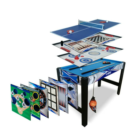 Hockey Basketball - Triumph 13-in-1 Combo Game Table Includes Basketball, Table Tennis, Billiards, Push Hockey, Launch Football, Baseball, Tic-Tac-Toe, and Skee Bean Bag Toss
