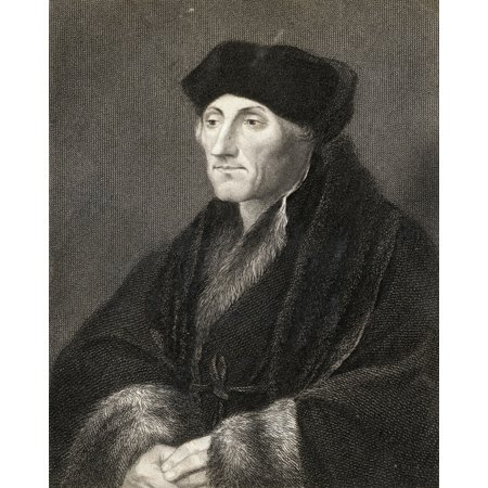 Desiderius Erasmus 1469-1536 Dutch Humanist And Theologian Greatest European Scholar Of The 16Th Century From The Book Gallery Of Portraits Published London 1833 Canvas Art - Ken Welsh Design Pics (2