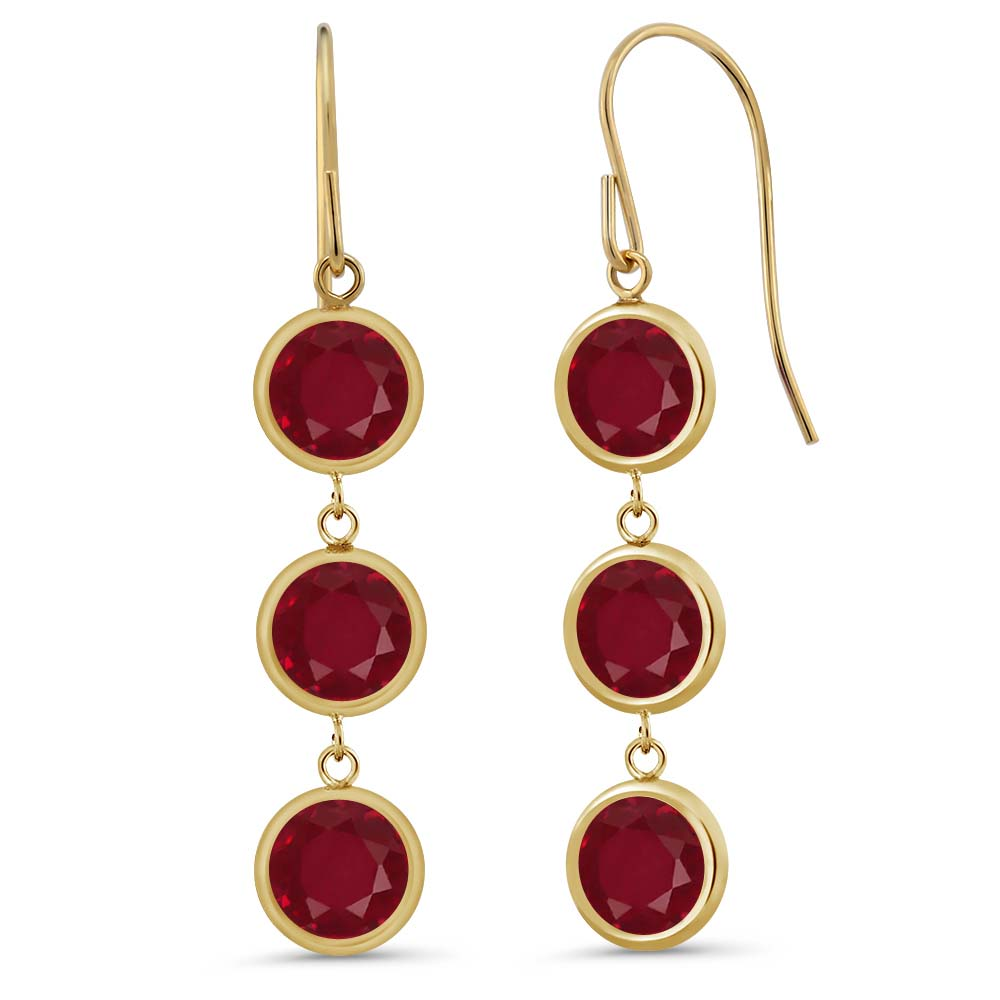 """3.36 Ct 3 Round Stones Red Ruby 14K Yellow Gold Bezel 1"""" Dangle Earrings"""