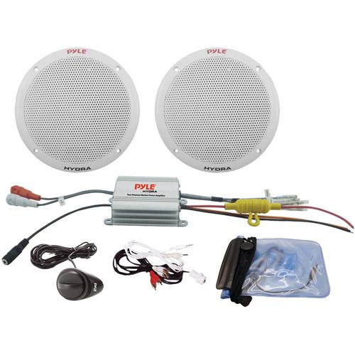 """Pyle PLMRKT2A 2-Channel Waterproof MP3/iPod Amplified 6.5"""" Marine Speaker System"""