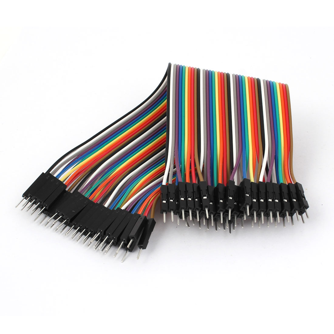 20cm 40pin Male to Male 2.54mm 1P-1P Jumper Wire Rainbow Flat Cable for