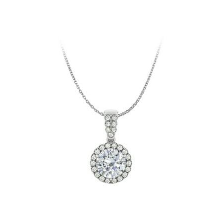 Jewelry Cubic Zirconia Halo Pendant 14K White Gold Free Chain - image 1 de 2