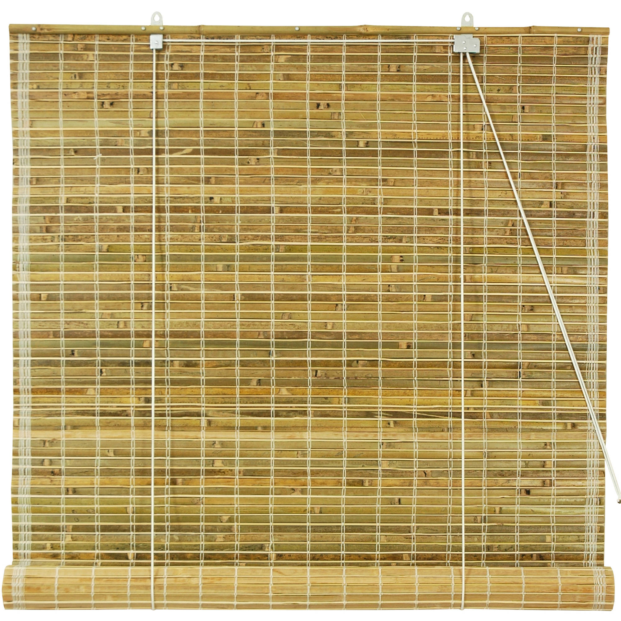 Burnt Bamboo Roll Up Blinds, Natural
