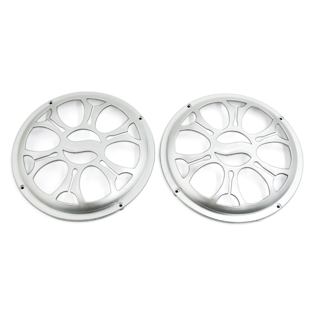 "Unique Bargains Plastic 8"" Car Speaker Subwoofer Grill Protective Dust Cover Sliver Tone Pair"