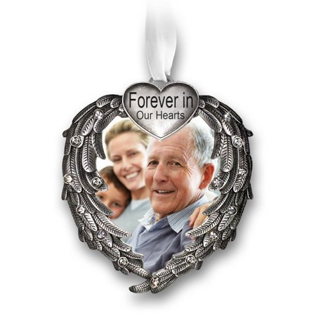 Forever In Our Hearts Christmas Ornament - Silver Heart Ornaments with Heart Shaped Angel Wings - Hanging Memorial Ornament - In Memory Christmas Ornament By Banberry Designs Ship from US - Heart Shaped Ornaments