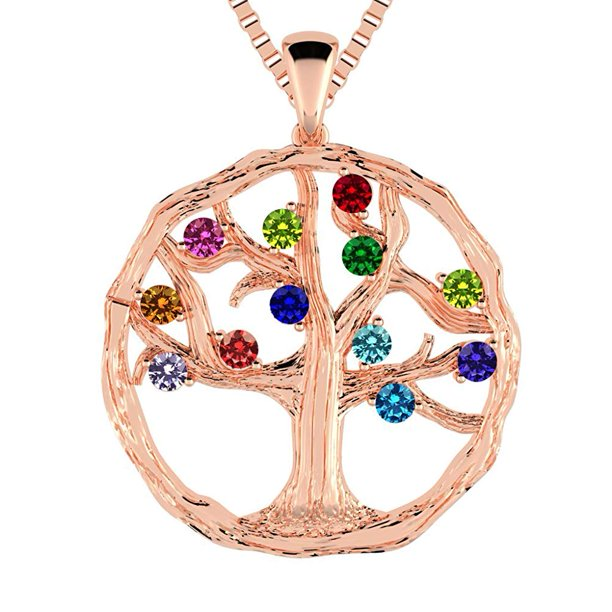 Silver Tree of Life Mother's Pendant - 9 Stone - Rose Gold Plated
