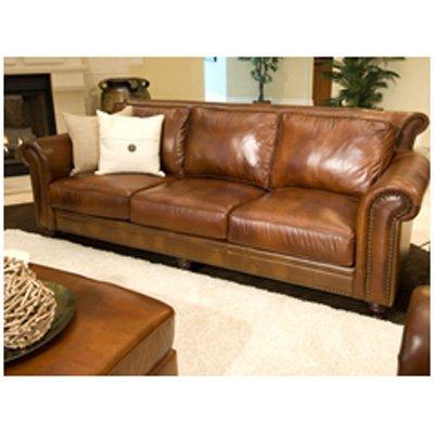 Elegant Paladia Top Grain Leather Sofa In Rustic