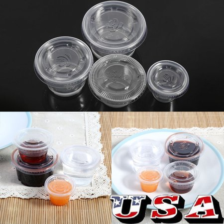 HURRISE Sauce Cup Plastic,50Pcs Disposable Plastic Clear Sauce Chutney Cups Boxes With Lid Food Takeaway - image 2 de 8