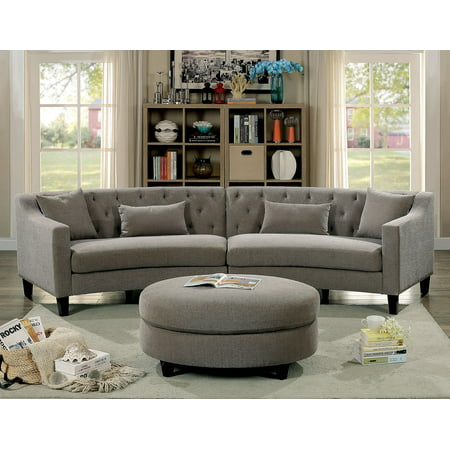 Contemporary Warm Grey Rounded Design Sectional Sofa Couch Linen Like  Fabric Tufted Cushion Pillows Armrest Sectionals