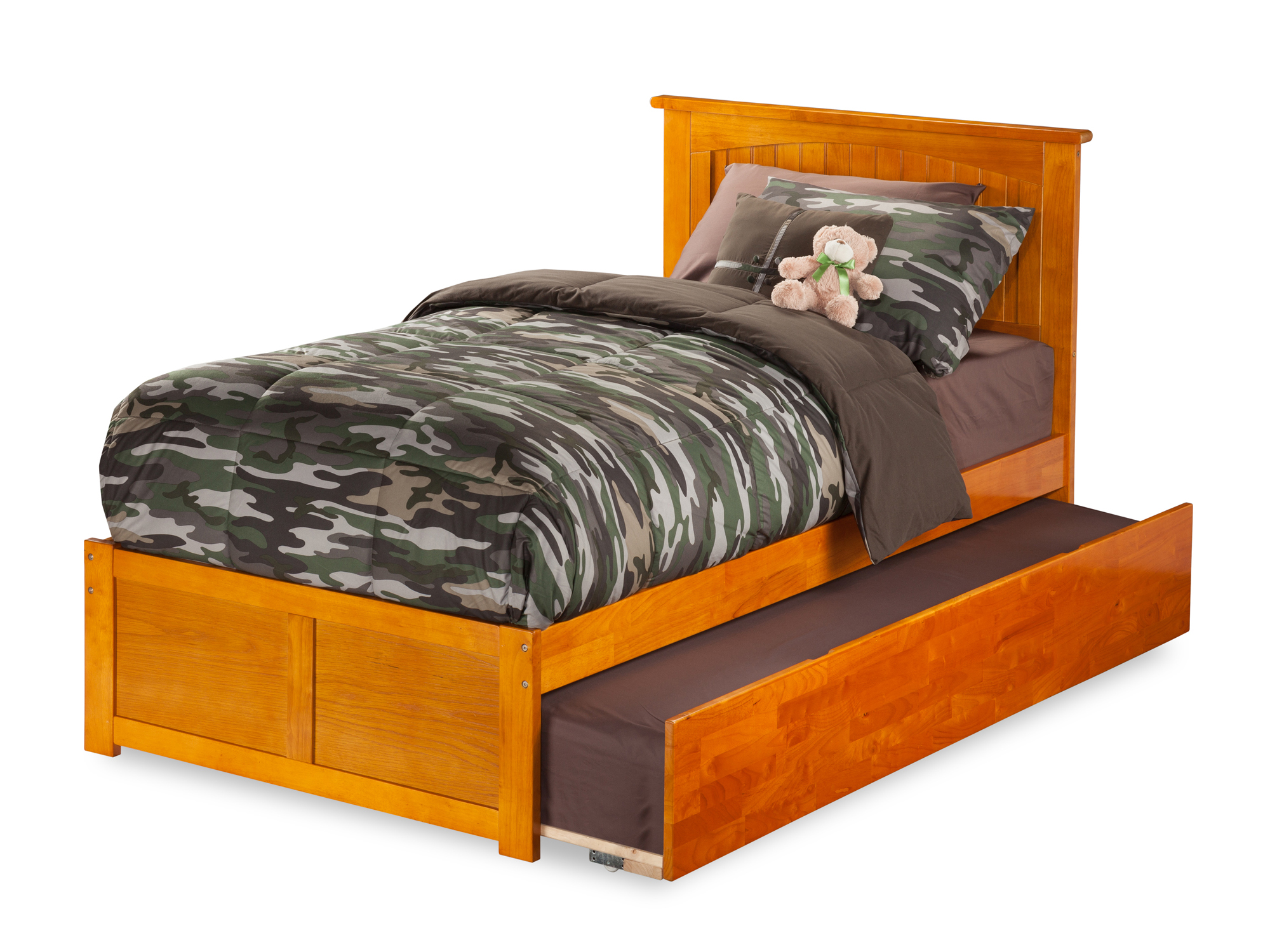 Nantucket Twin Platform Bed with Flat Panel Foot Board and Twin Size Urban Trundle Bed Bed in Caramel Latte by Atlantic Furniture