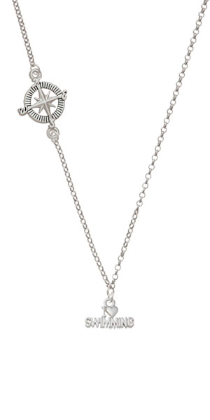 I Heart Swimming Delicate Compass Necklace by Delight and Co.