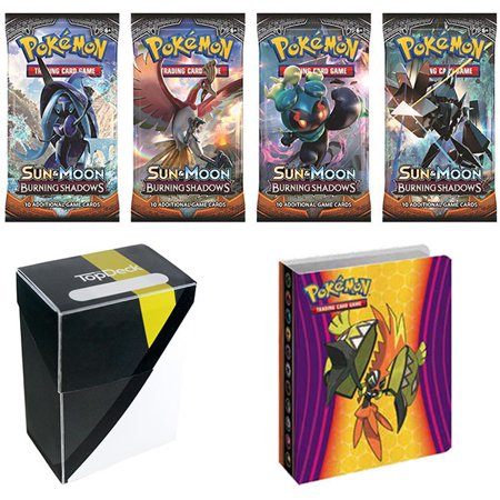 Pokemon Sun And Moon Burning Shadows Booster Pack With 1 Ultra Ball Colorway Deck Box   Sun And Moon Guardians Rising Tapu Koko Lycanroc Mini Binder
