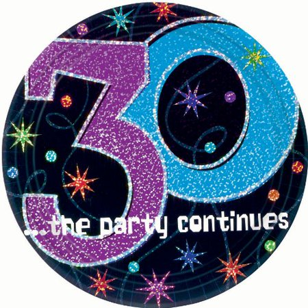 The Party Continues 30th Birthday Dessert Plates 8ct, By Factory Card and Party Outlet - Factory Card Outlet Halloween Costumes
