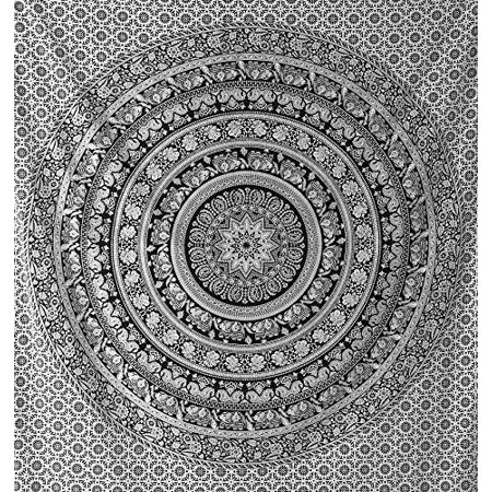 Psychedelic Black And White Hippie Tapestries Mandala Tapestry College Dorm Beach Throw Wall Art Bohemian Tapestry Wall Hanging Boho Tapestries Bedspread Bedding By Jaipur Handloom