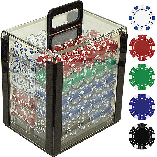 Trademark Poker 1000 11.5 Gram Dice-Striped Poker Chips in Clear Acrylic Carrier by TRADEMARK GAMES INC