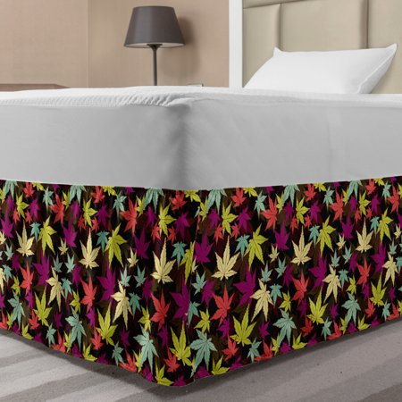 Leaves Bed Skirt, Motley Composition of Foliage in Lively Colors Autumnal Tree Seasonal Nature Theme, Elastic Bedskirt Dust Ruffle Wrap Around for Bedding Decor, 4 Sizes, Multicolor, by Ambesonne