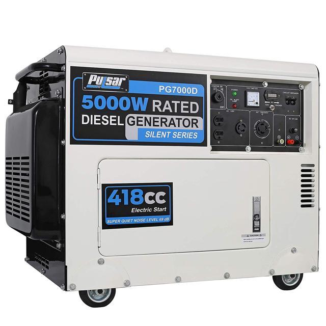 Pulsar 5,000 Watts Closed Frame Diesel-Powered Generator with Electric Start, EPA Approved PG7000D