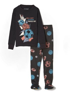 "Big Feet PJs 2 Piece Footed Pajamas with Sports Balls in Black ""All Out - Game On"""