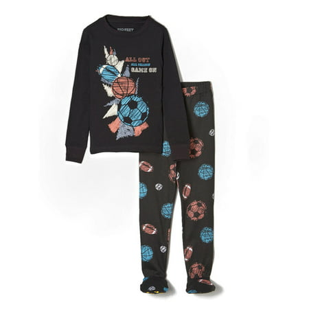 Big Feet PJs 2 Piece Footed Pajamas with Sports Balls in Black