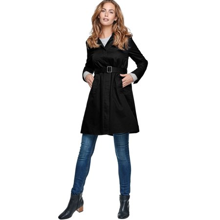 A-line Vintage Coat - Ellos Plus Size Belted A-line Trench Coat