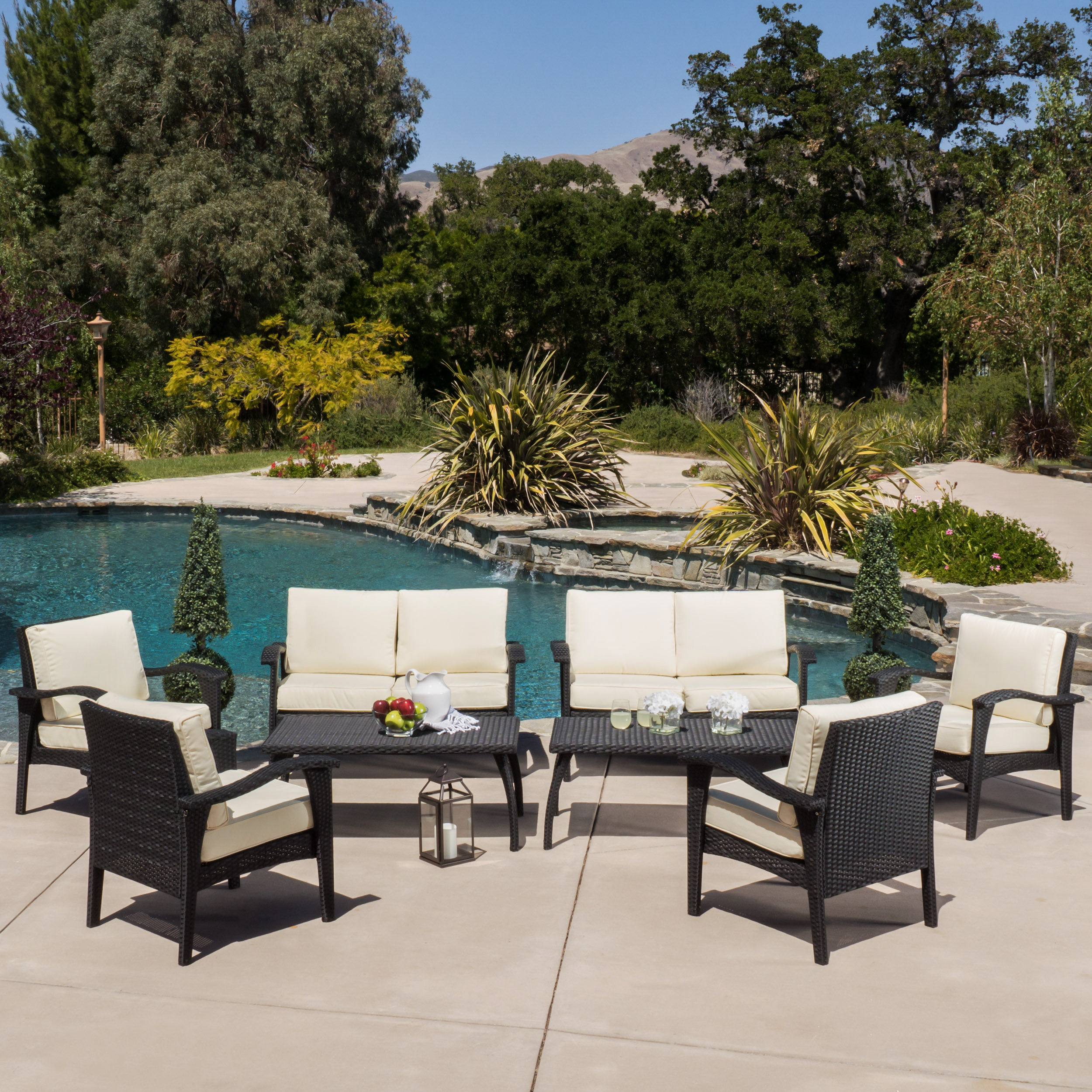 Garrett Outdoor 8 piece Wicker Seating Set & Cushions, Black