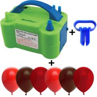 Electric Balloon Pump w/Tying Tool and 90 Balloons, 12 inch, 3 Colors - 30 Red, 30 Brown, and 30 Burgundy Wine. Lightweight Inflator has Two Nozzles to Make Blowing Quick and Easy