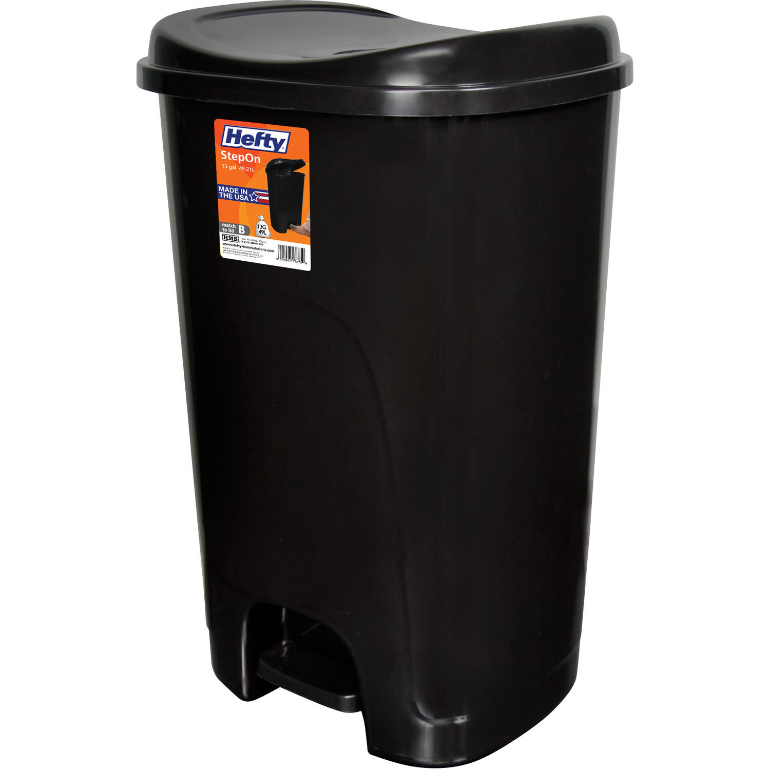 Hefty Step On 13 Gallon Trash Can, Black