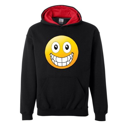 Emojis Hoodie Big Smile Grinning Big Mouth  Men's Hoodies Conrast Color
