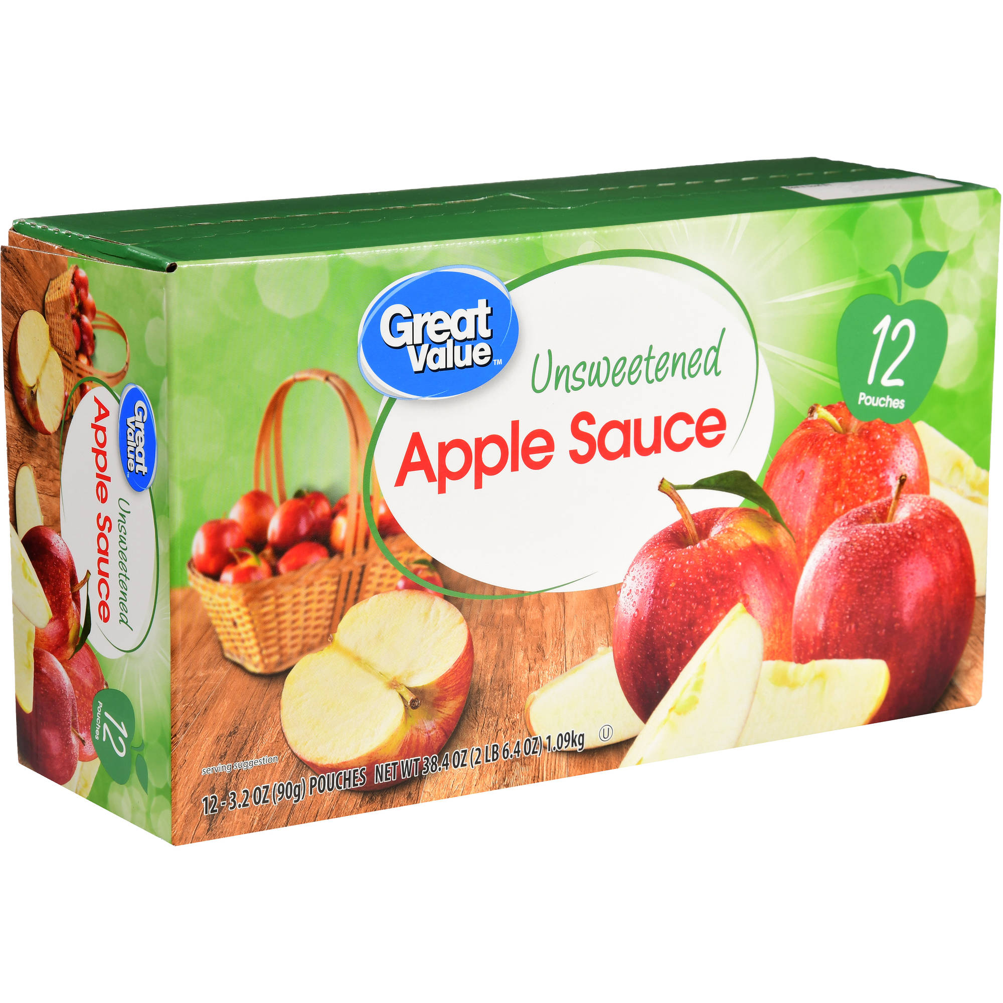 Great Value Applesauce Pouches, Unsweetened, 12 Count