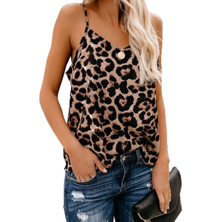 Neck Cami (Women's Leopard Printed Sexy V Neck Cami Basic Sleeveless Tank Tops Casual Summer Spaghetti Strap Camisoles Shirts Blouses)