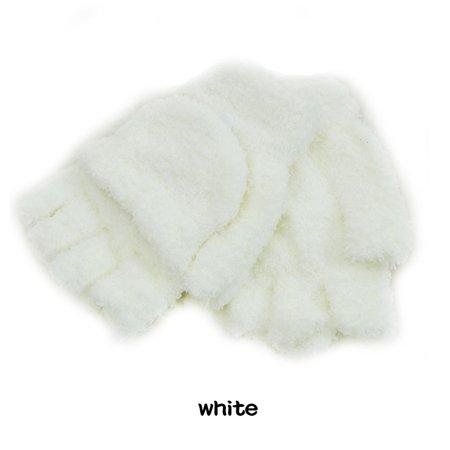 Girls Coral Velvet Flip Cover Soft Half Finger Winter Hand Warmer Mittens Clamshell Glove Computer Gloves (1 Pair White)
