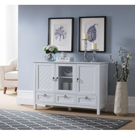 Newport Contemporary Sideboard Buffet Console Table With Storage Cabinets, Drawers & Shelves, White, Wood & Glass ()