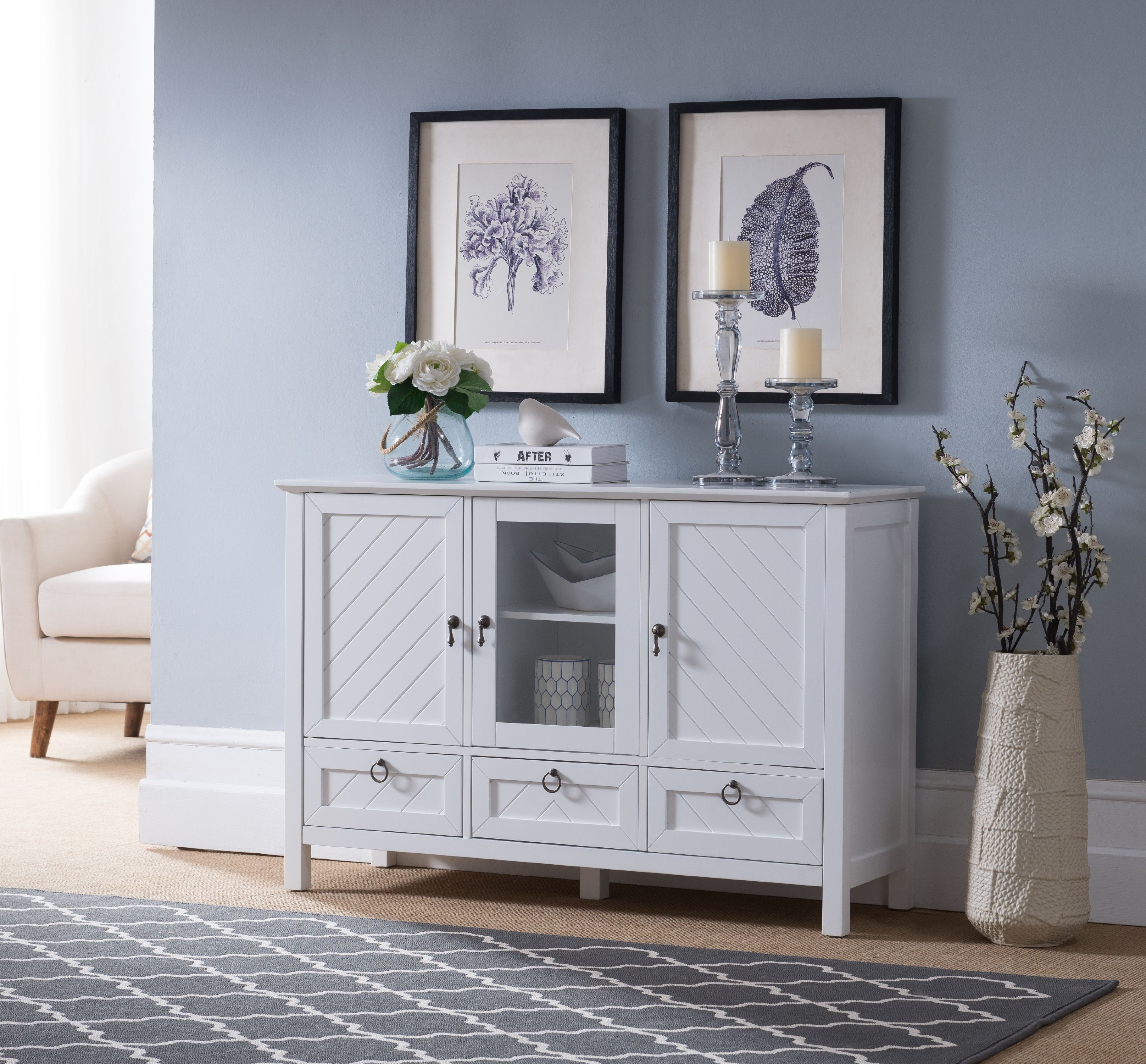 Newport Contemporary Sideboard Buffet Console Table With Storage Cabinets,  Drawers U0026 Shelves, White, Wood U0026 Glass   Walmart.com