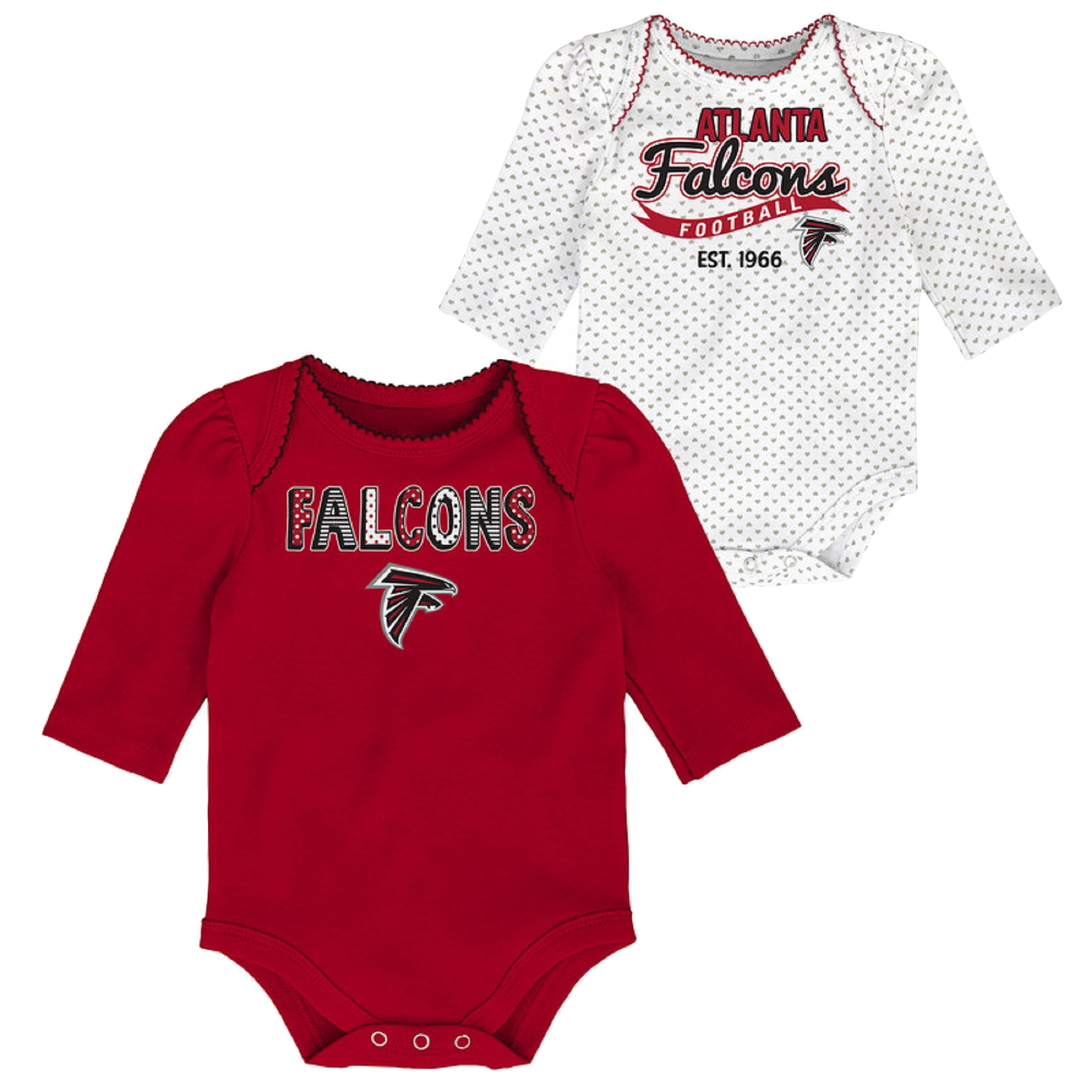 Girls Newborn & Infant Red/White Atlanta Falcons 2-Pack Long Sleeve Bodysuits