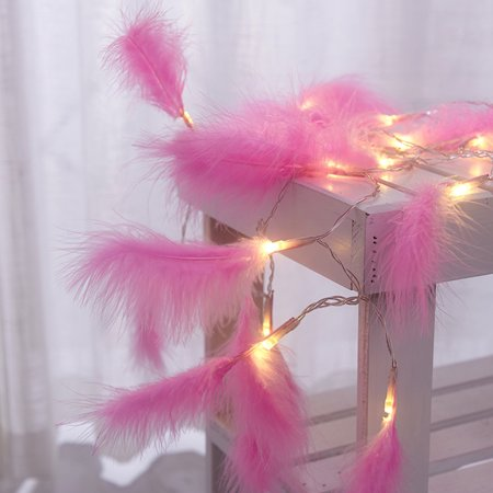 Romantic Feather String Light, 3.9FT 10LEDs Decorative Fairy Lamp, Battery Operated - image 1 of 7