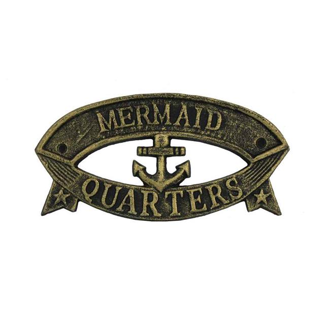 Handcrafted Model Ships k-49005C-gold 9 in. Cast Iron Mermaid Quarters Sign - Antique Gold