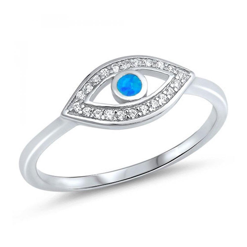 925 Sterling Silver Evil eye Lab opal Gem Ring by Royal Design