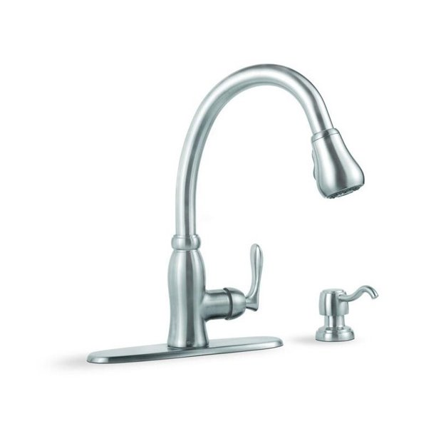 Pavilion Single Handle Pull Down Sprayer Kitchen Faucet With Soap Dispenser In Stainless Steel Walmart Com Walmart Com