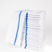 "GHP 24-Pcs 100% Cotton 16""x19"" 30-Oz Blue Striped Premium Terry Cloth Kitchen Towels"
