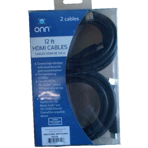 Onn 12' Basic HDMI Cable, 2-Pack