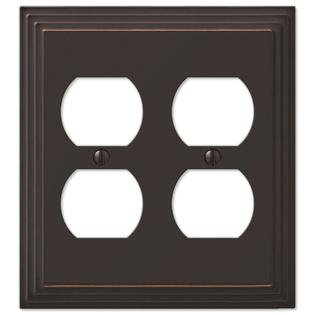Step Design Double Duplex Wall Switch Plate Outlet Cover - Oil Rubbed Bronze Double Power Outlet Cover