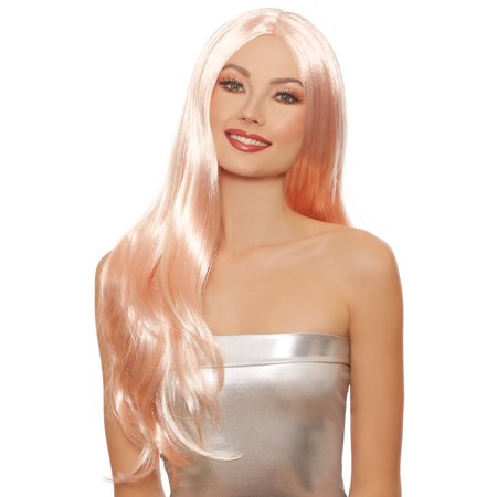 Rose Gold Long Straight Wig Adult Halloween Accessory