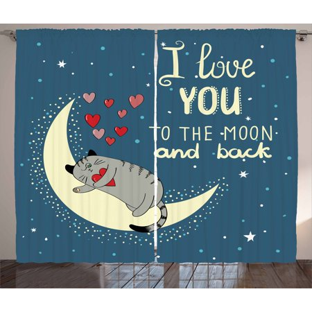 - I Love You Curtains 2 Panels Set, Sleepy Cat Holding Hearts over the Moon at Night Sky Kitty Caricature, Window Drapes for Living Room Bedroom, 108W X 84L Inches, Slate Blue Grey Ivory, by Ambesonne