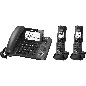 Panasonic Link2Cell KX-TGF382M DECT 6.0 1.90 GHz Standard Phone - Metallic Black - Corded/Cordless - 1 x Phone Line - Speakerphone - Answering Machine - Hearing Aid Compatible