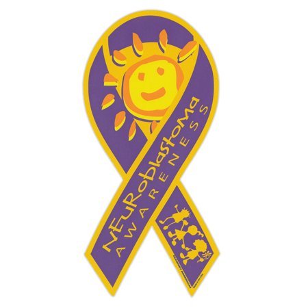 "Magnetic Bumper Sticker - Neuroblastoma Awareness - Ribbon Shaped Support Magnet - 4"" x 8"""