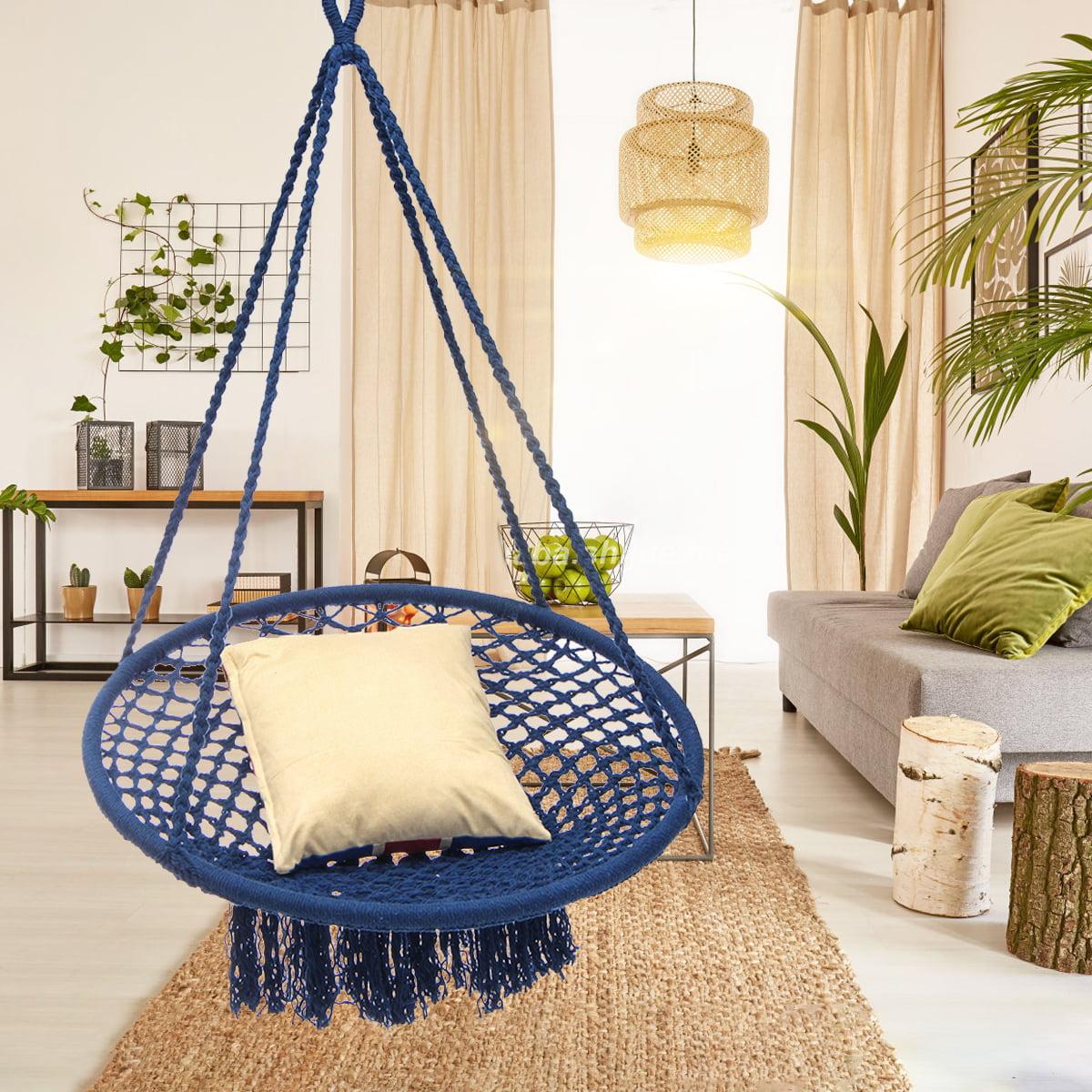 Hanging Hammock Mesh Cotton Nylon Rope Macrame Wooden Bar Chair Swing Outdoor Home Garden Patio Chair Seat Home Decor Christmas Gift